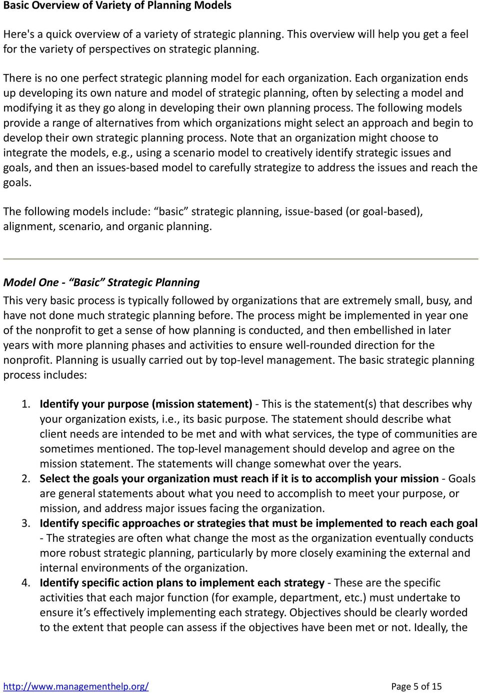 Strategic Planning (in nonprofit or for profit organizations