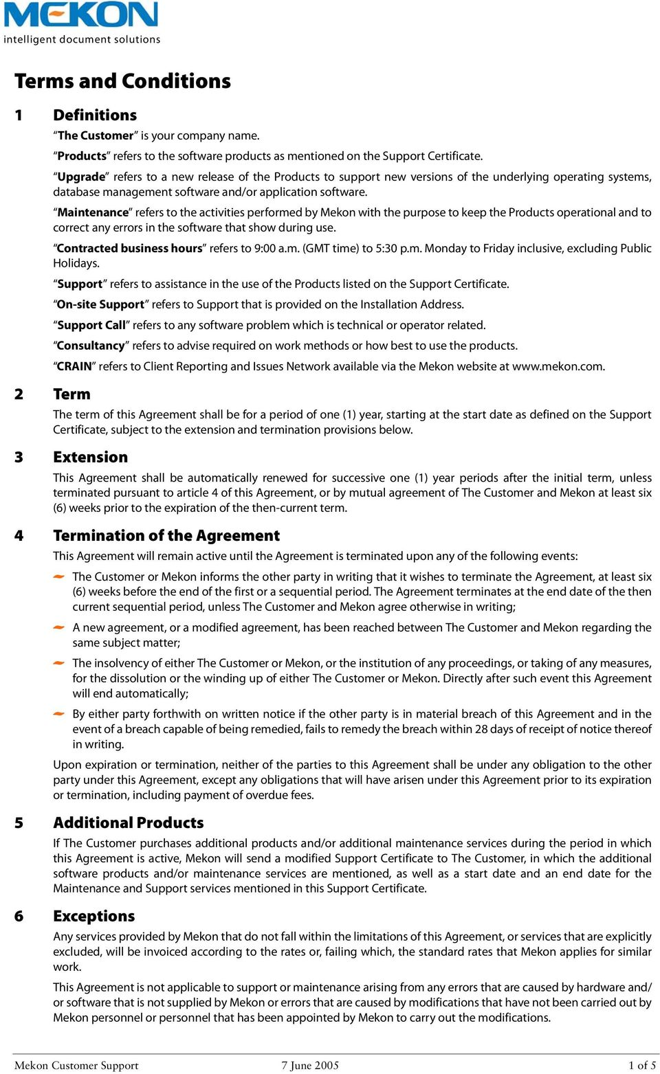 Terms And Conditions 4 Termination Of The Agreement Pdf