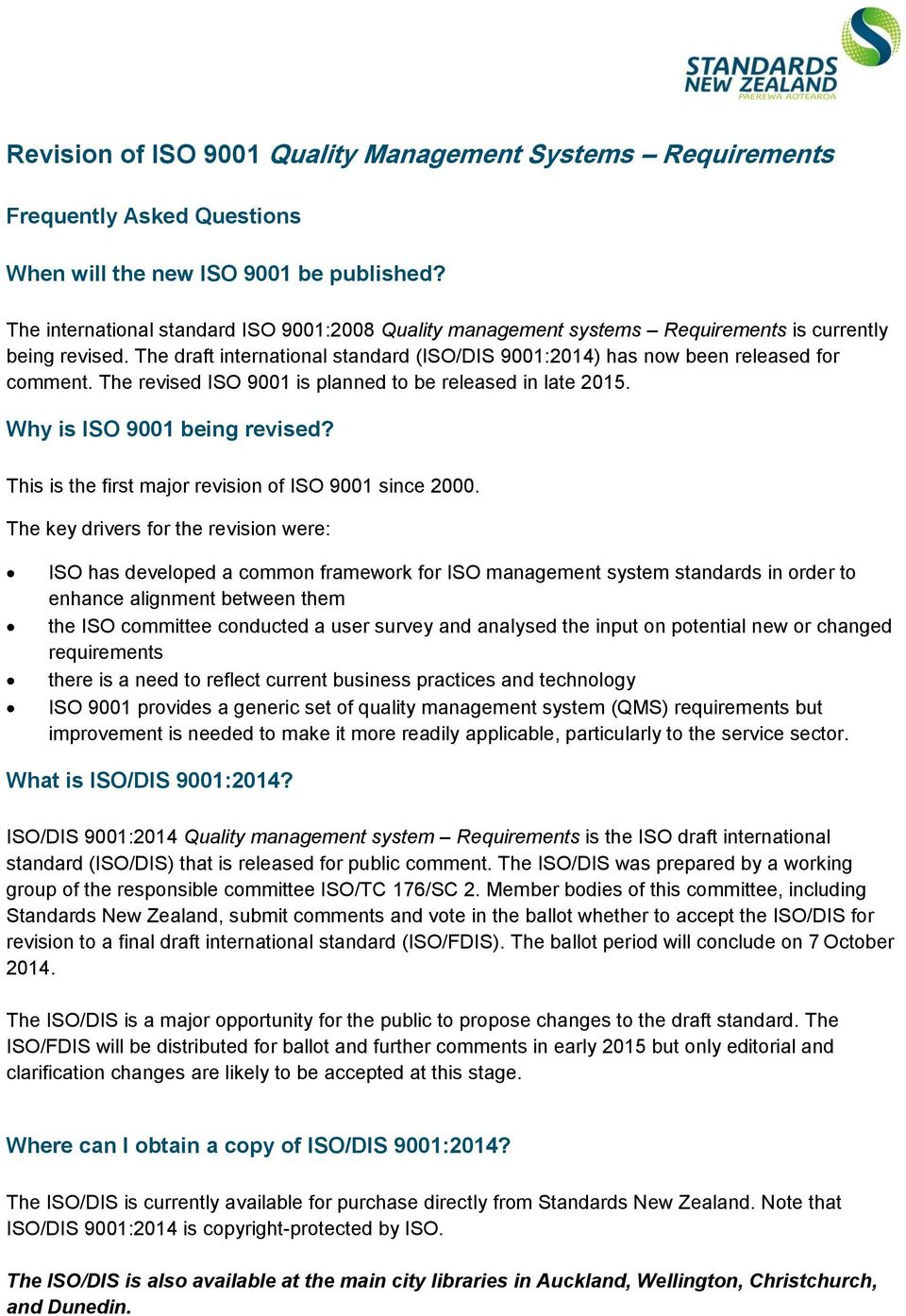 iso 9001 revision 2015 draft