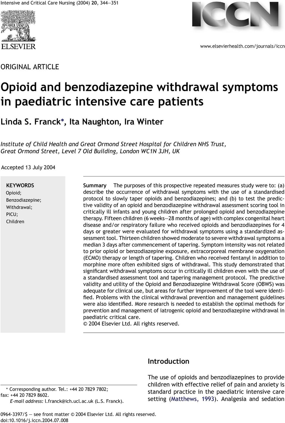 Opioid and benzodiazepine withdrawal symptoms in paediatric