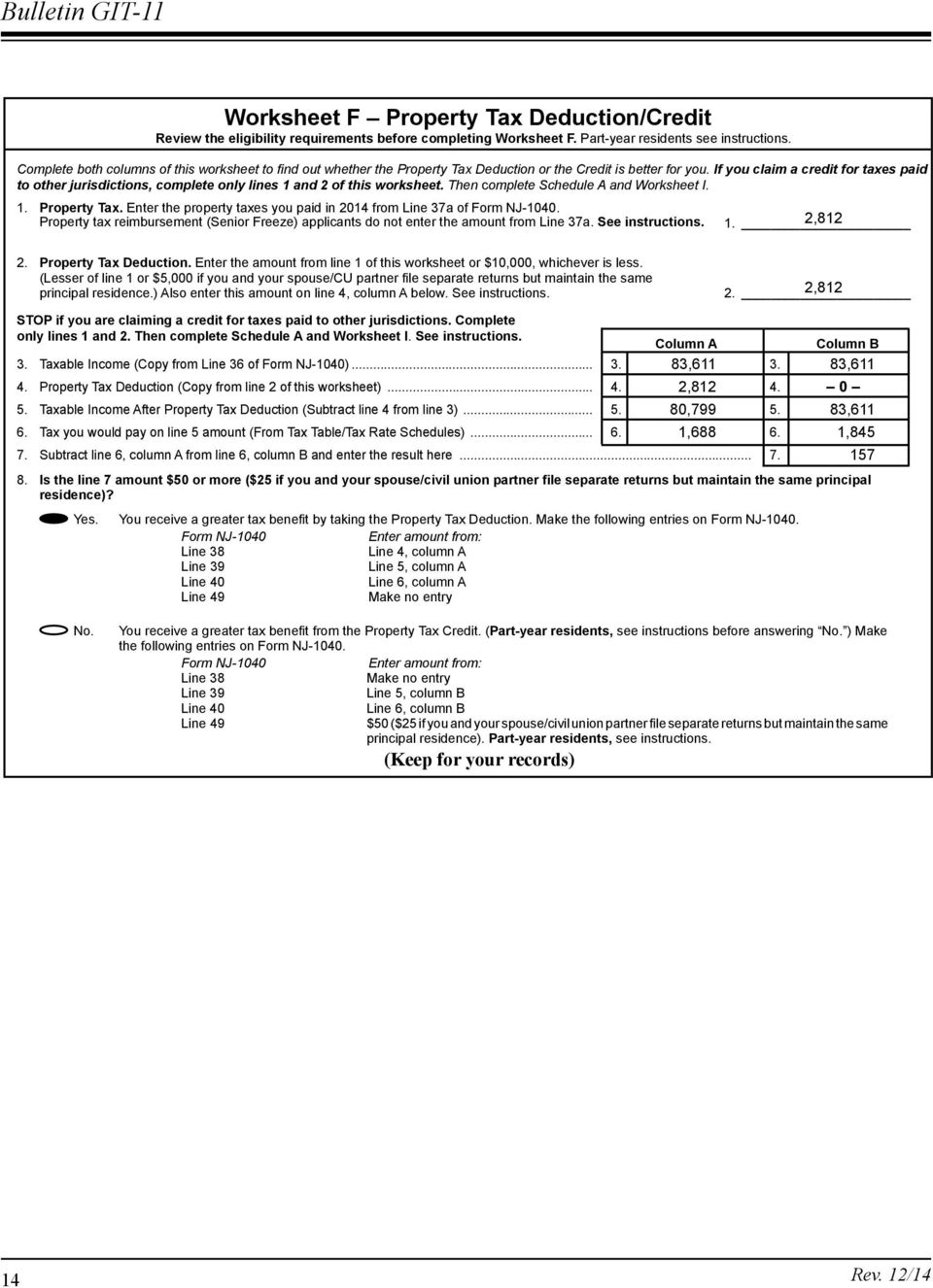 opic New Jersey Resident Return Examples (tax year 2014) - PDF