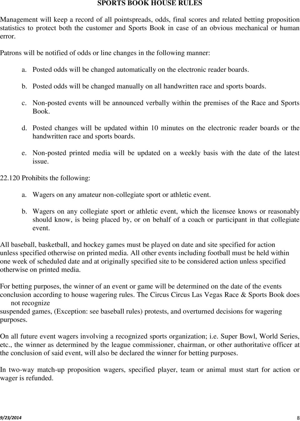 CIRCUS CIRCUS LAS VEGAS RACE AND SPORTS BOOK HOUSE RULES - PDF