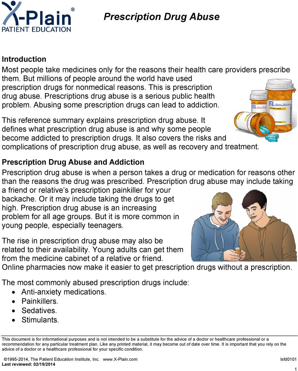 Abusing some prescription drugs can lead to addiction. This reference summary explains prescription drug abuse.