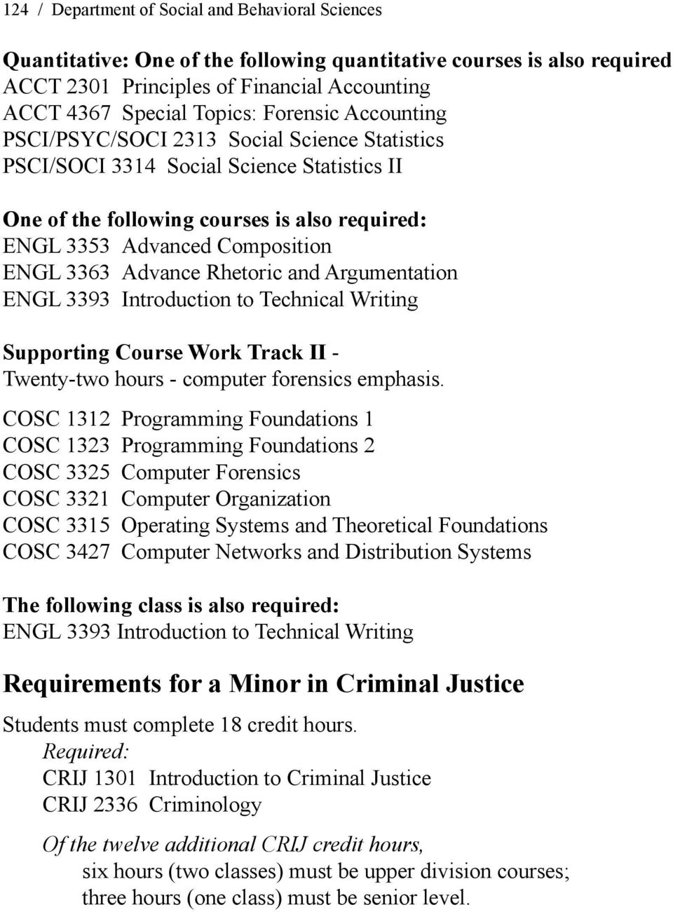 Advance Rhetoric and Argumentation ENGL 3393 Introduction to Technical Writing Supporting Course Work Track II - Twenty-two hours - computer forensics emphasis.