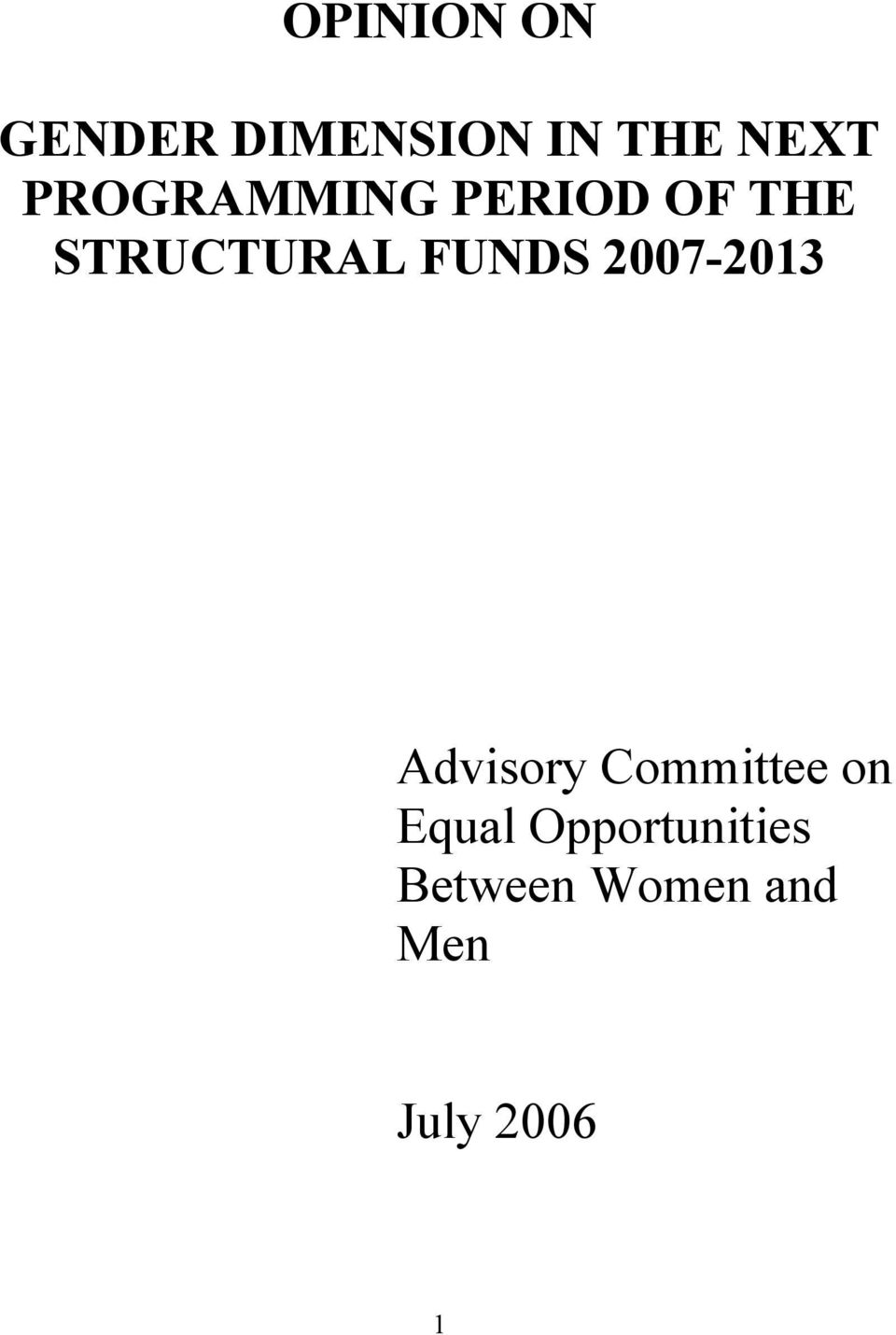 FUNDS 2007-2013 Advisory Committee on