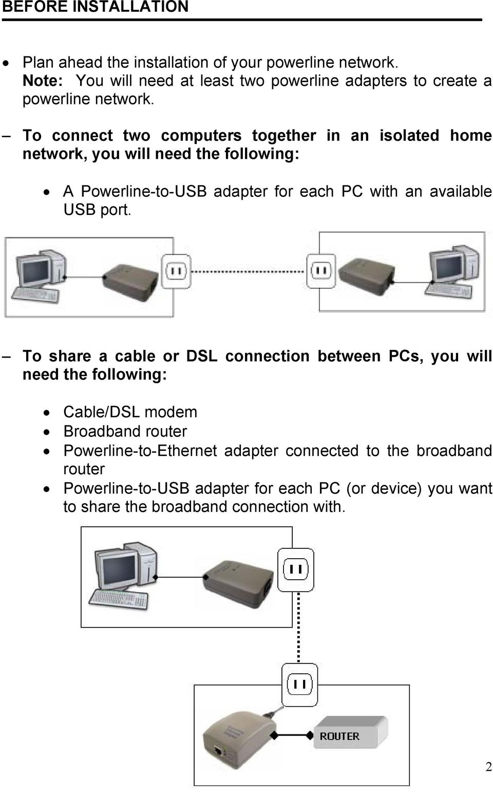 To connect two computers together in an isolated home network, you will need the following: A Powerline-to-USB adapter for each PC with an