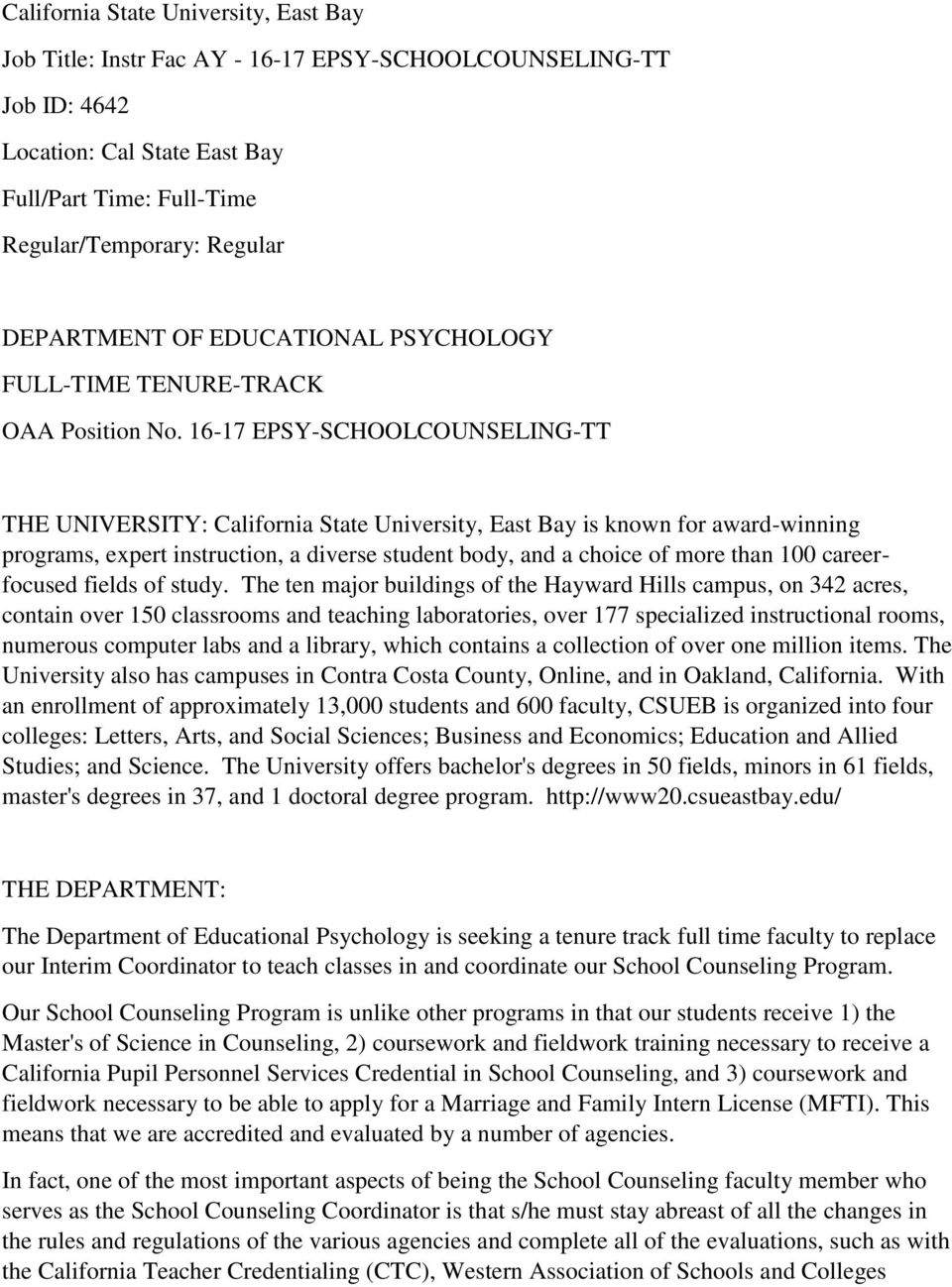 Department Of Educational Psychology Full Time Tenure Track Oaa