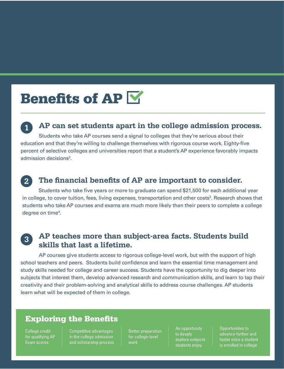 Eighty-five percent of selective colleges and universities report that a student s AP experience favorably impacts admission decisions 2. 2 The financial benefits of AP are important to consider.
