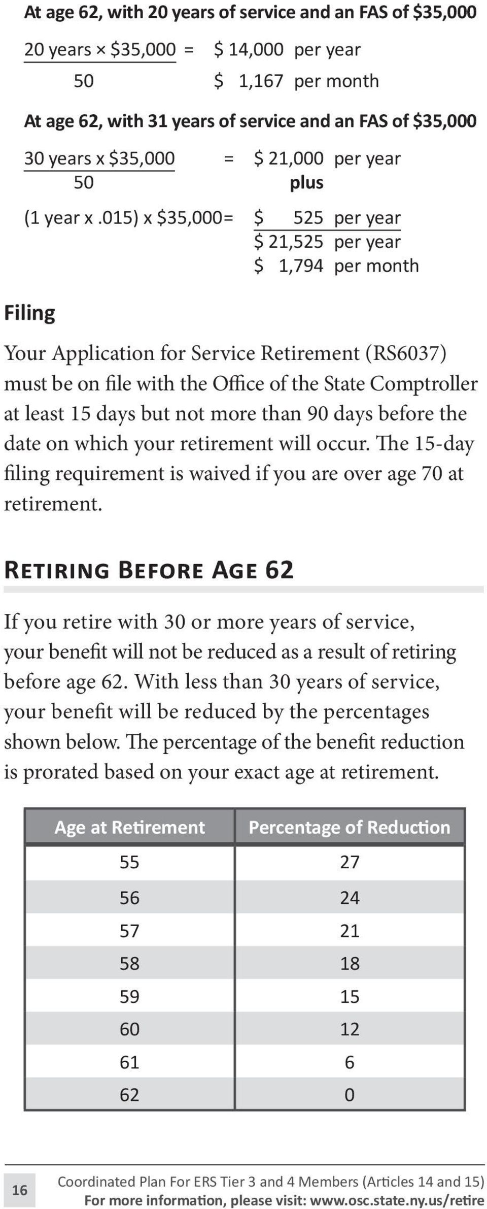 015) x $35,000= $ 525 per year $ 21,525 per year $ 1,794 per month Filing Your Application for Service Retirement (RS6037) must be on file with the Office of the State Comptroller at least 15 days