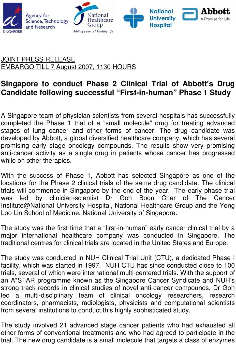 Singapore to conduct Phase 2 Clinical Trial of Abbott s Drug