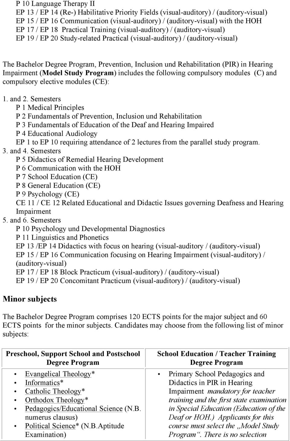 Rehabilitation (PIR) in Hearing Impairment (Model Study Program) includes the following compulsory modules (C) and compulsory elective modules (CE): 1. and 2.