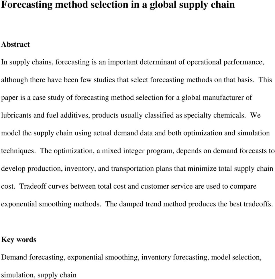 Forecasting method selection in a global supply chain - PDF