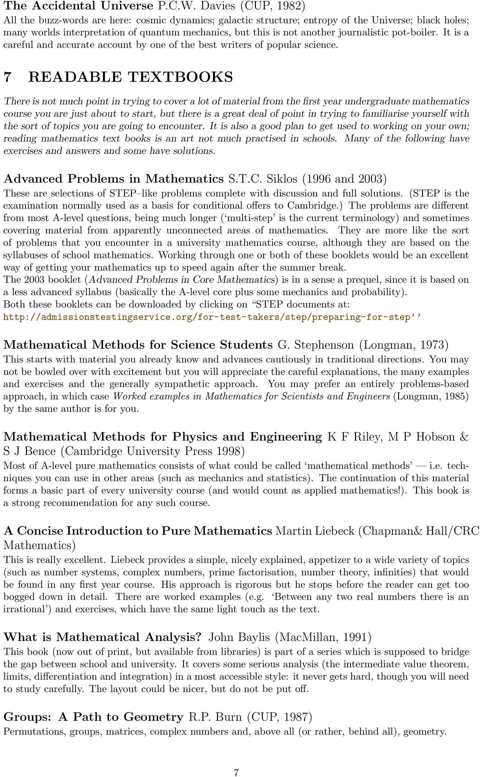 MATHEMATICAL READING LIST - PDF