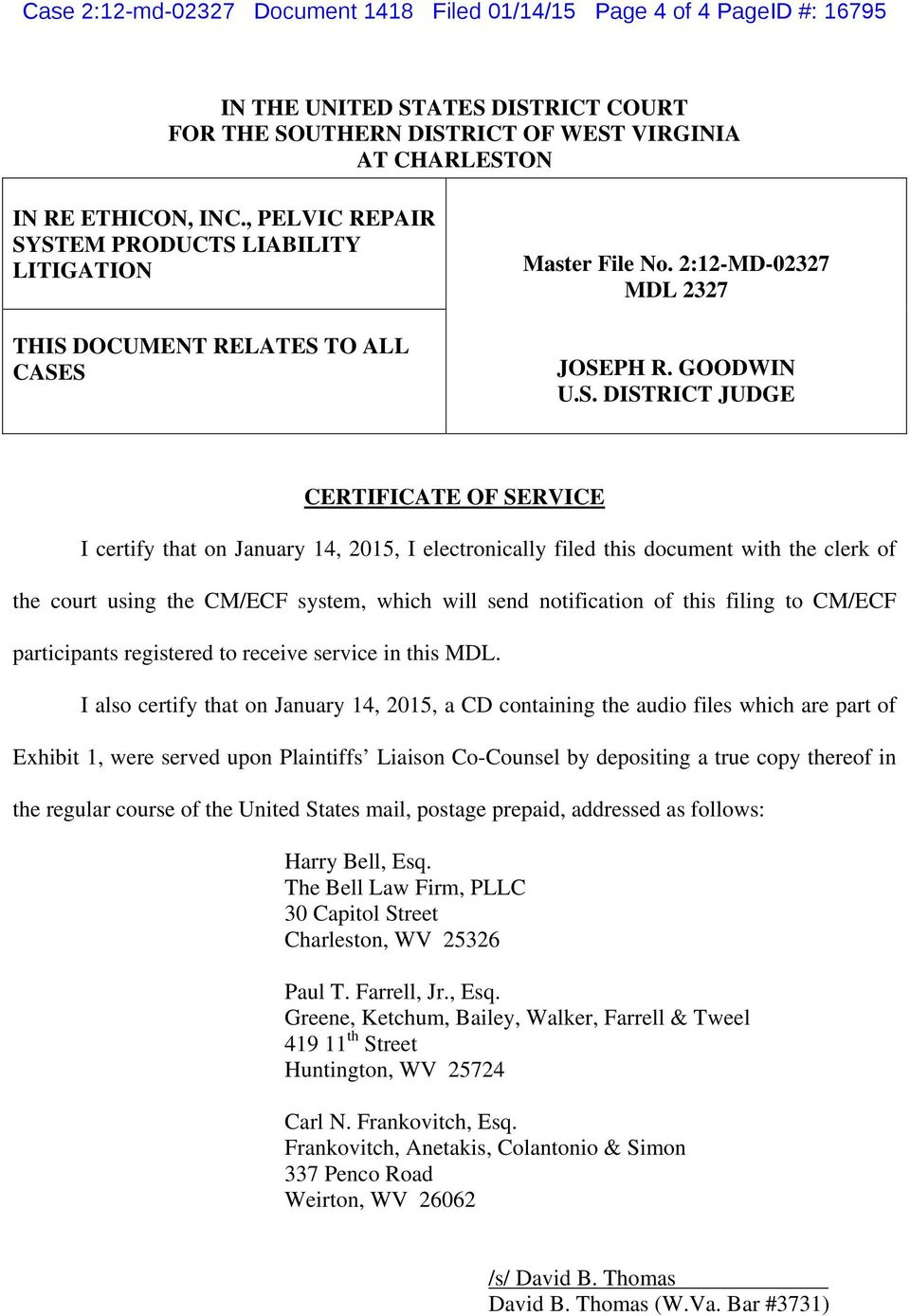 Case 2:12-md Document 1418 Filed 01/14/15 Page 1 of 4 PageID #: PDF