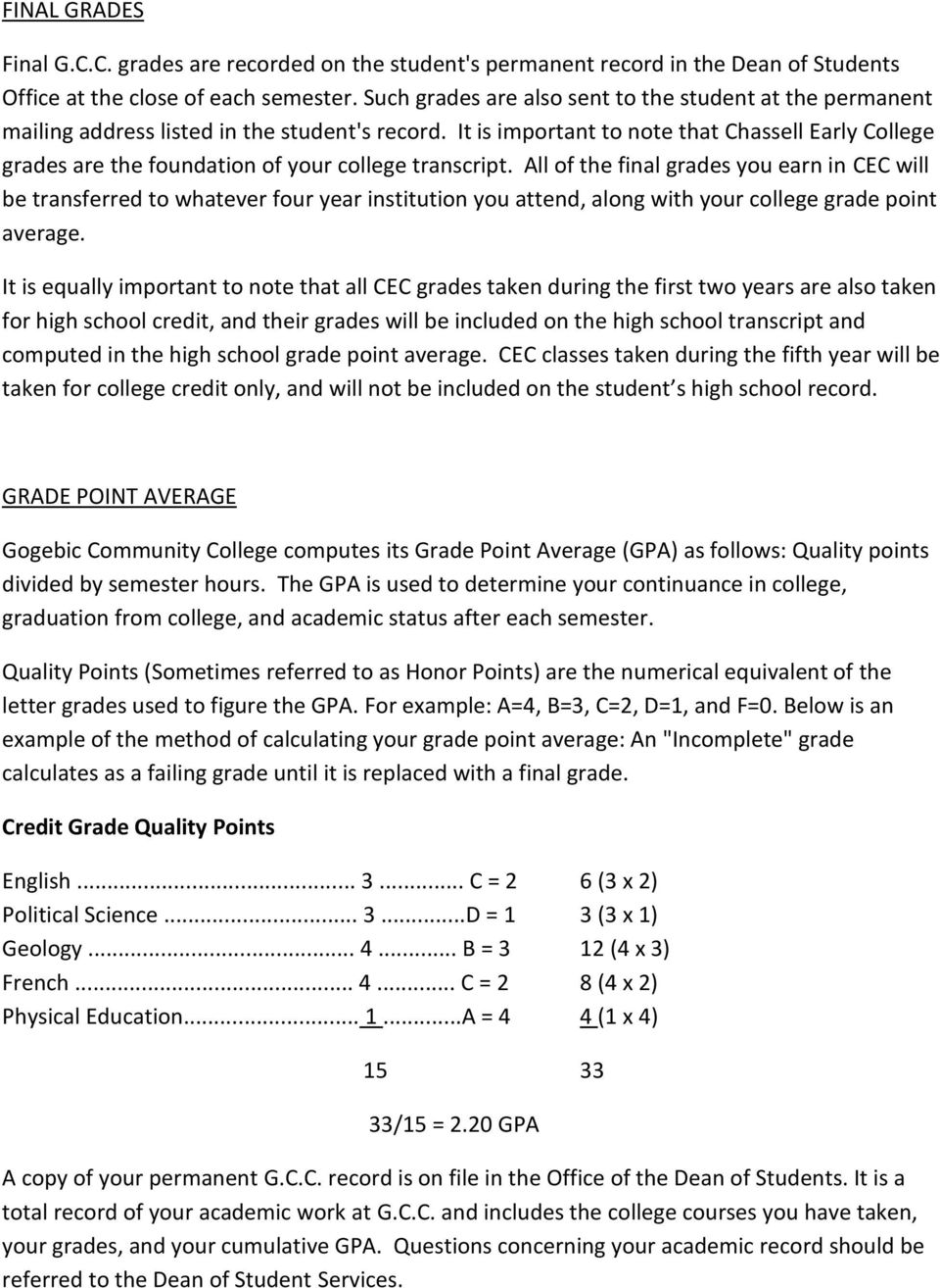 It is important to note that Chassell Early College grades are the foundation of your college transcript.