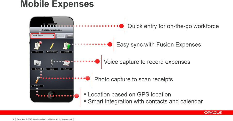 expenses Photo capture to scan receipts Location based