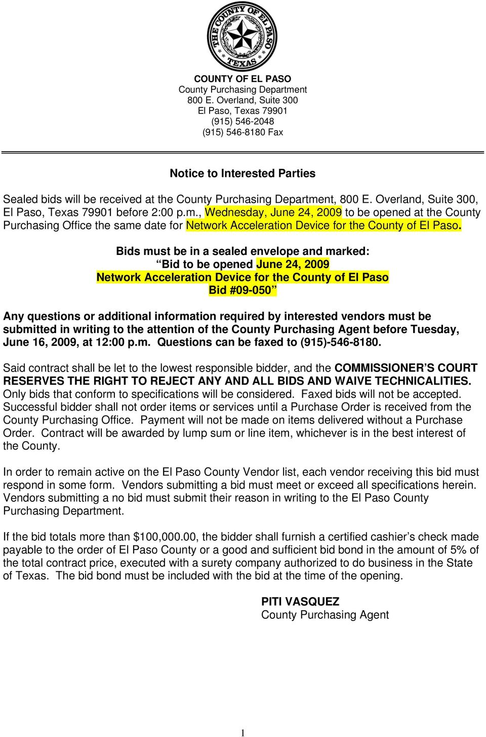 Notice to Interested Parties - PDF