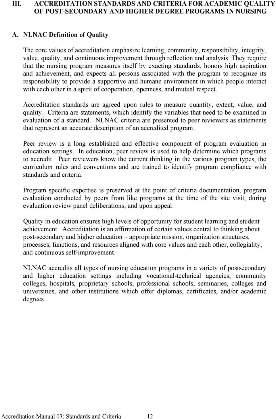 ACCREDITATION STANDARDS AND CRITERIA FOR ACADEMIC QUALITY OF POST