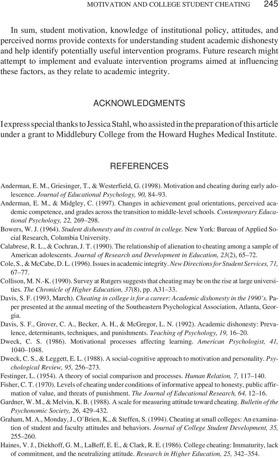 student motivation research articles