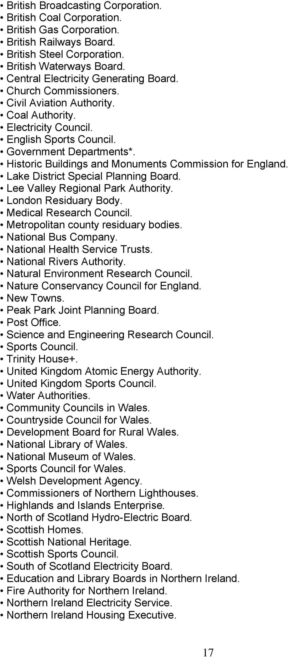 Lake District Special Planning Board. Lee Valley Regional Park Authority. London Residuary Body. Medical Research Council. Metropolitan county residuary bodies. National Bus Company.