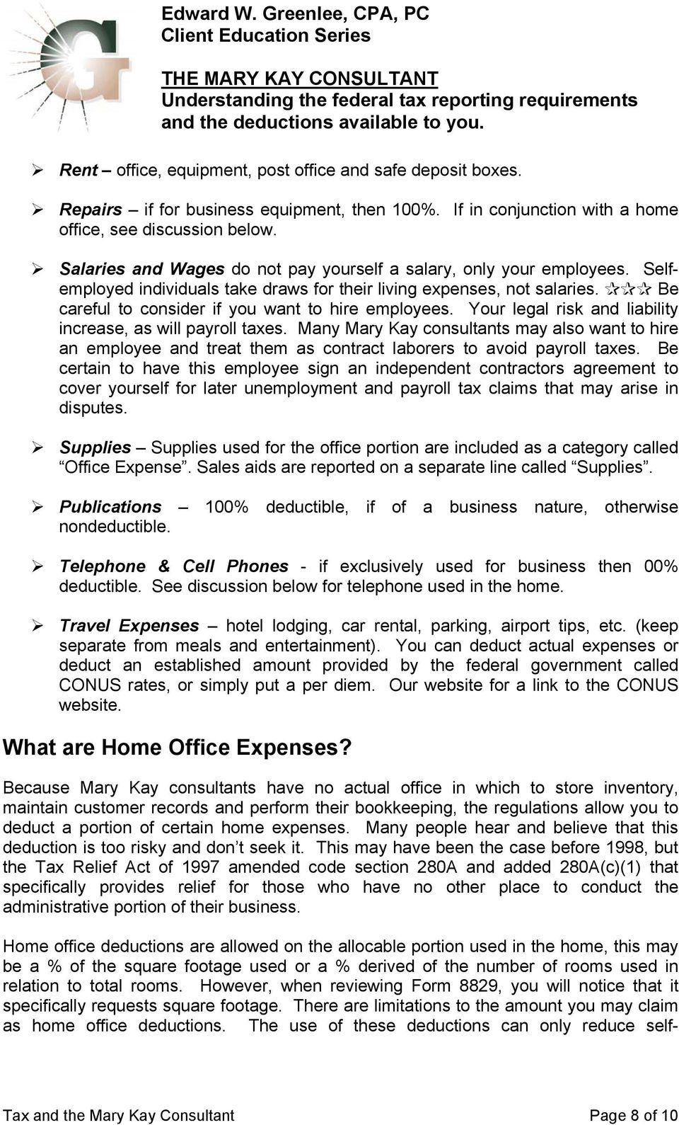 What Is My Tax Reporting Status As A Mary Kay Consultant Pdf