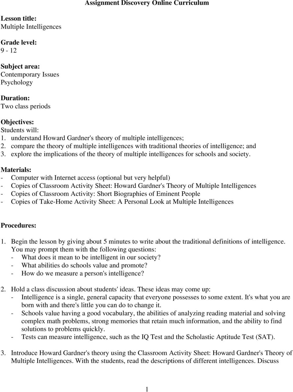 photograph about Howard Gardner Multiple Intelligences Test Printable identify Assignment Discovery On the internet Curriculum - PDF