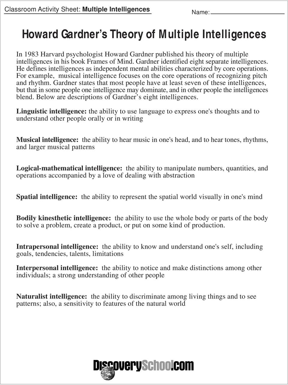 photo about Howard Gardner Multiple Intelligences Test Printable identified as Assignment Discovery On-line Curriculum - PDF