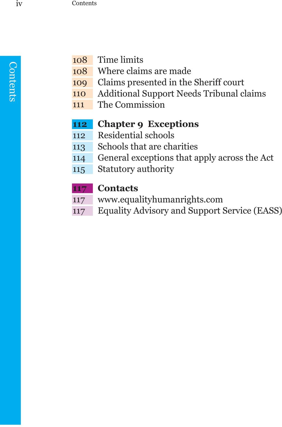 Chapter 9 Exceptions Residential schools Schools that are charities General exceptions that apply across