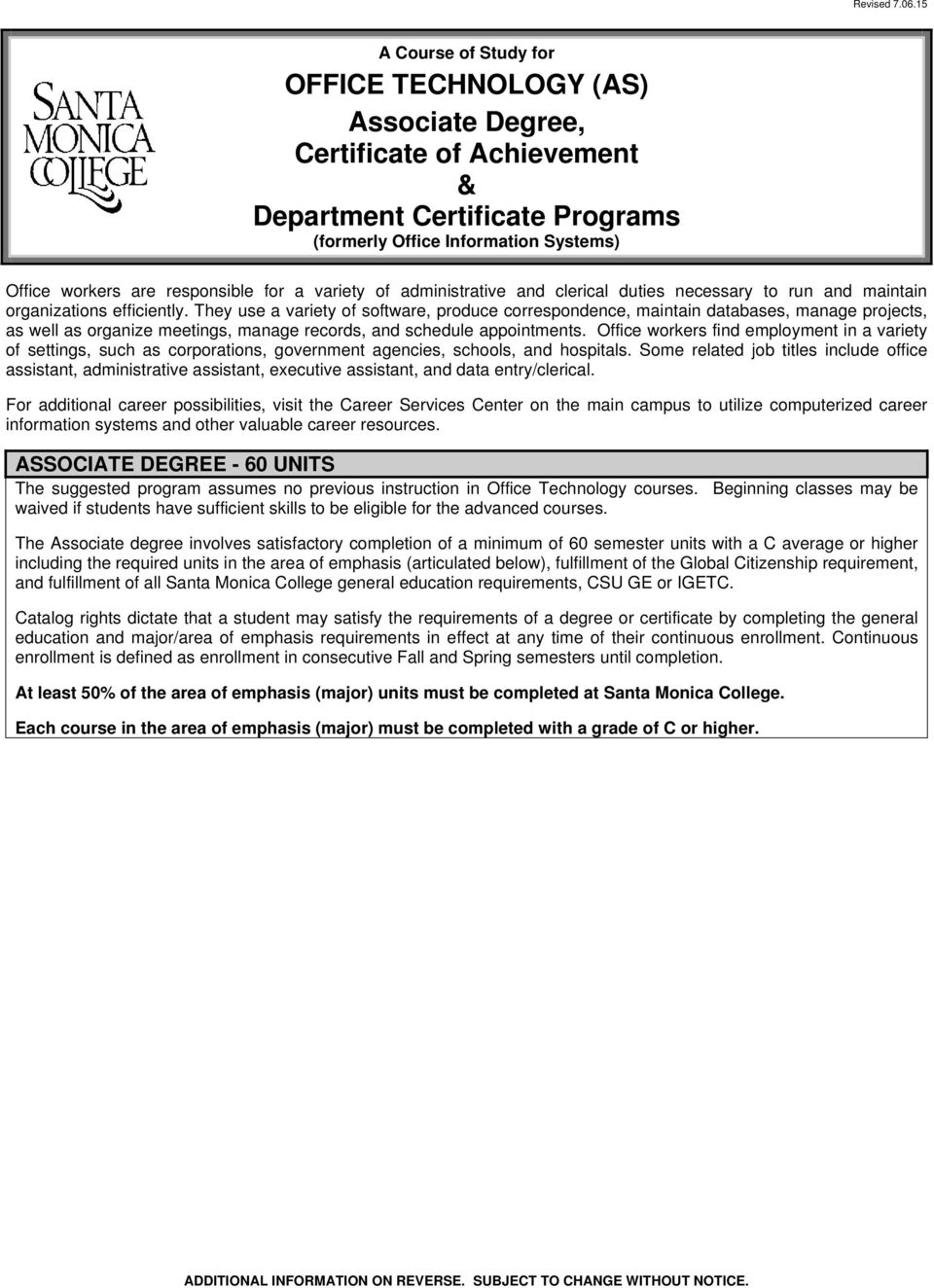 office technology (as) associate degree, certificate of achievement