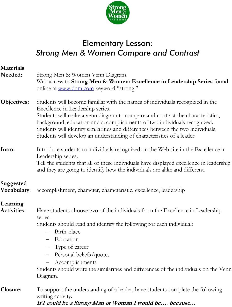 Strong Men Women Online Teaching Guide Table Of Contents