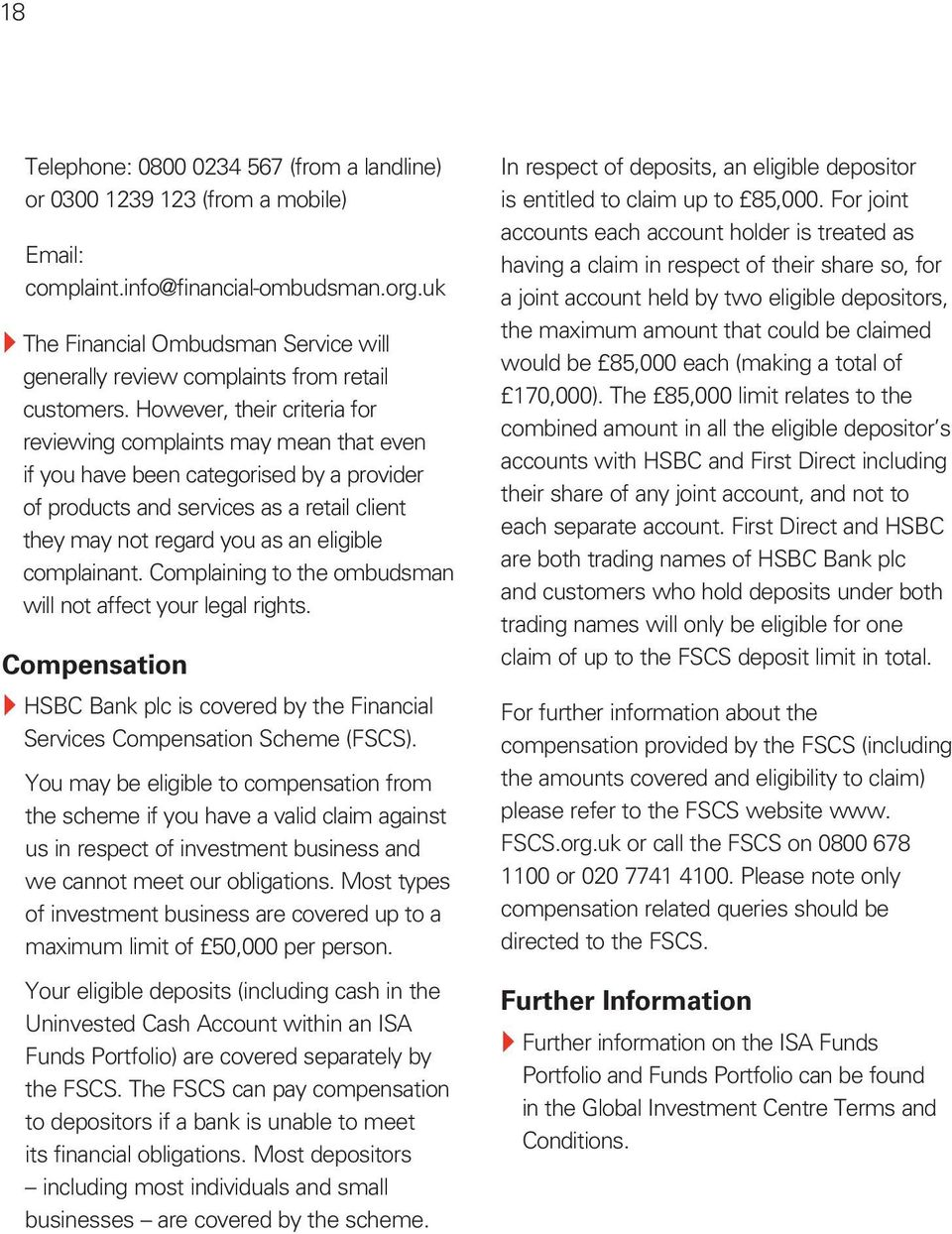 Key Features of the Funds Portfolio and ISA Funds Portfolio - PDF