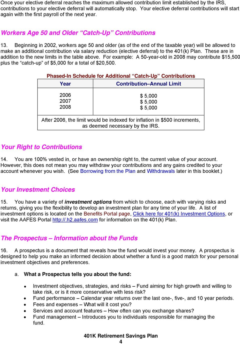 401(k) Retirement Savings Plan  For Employees of the Army