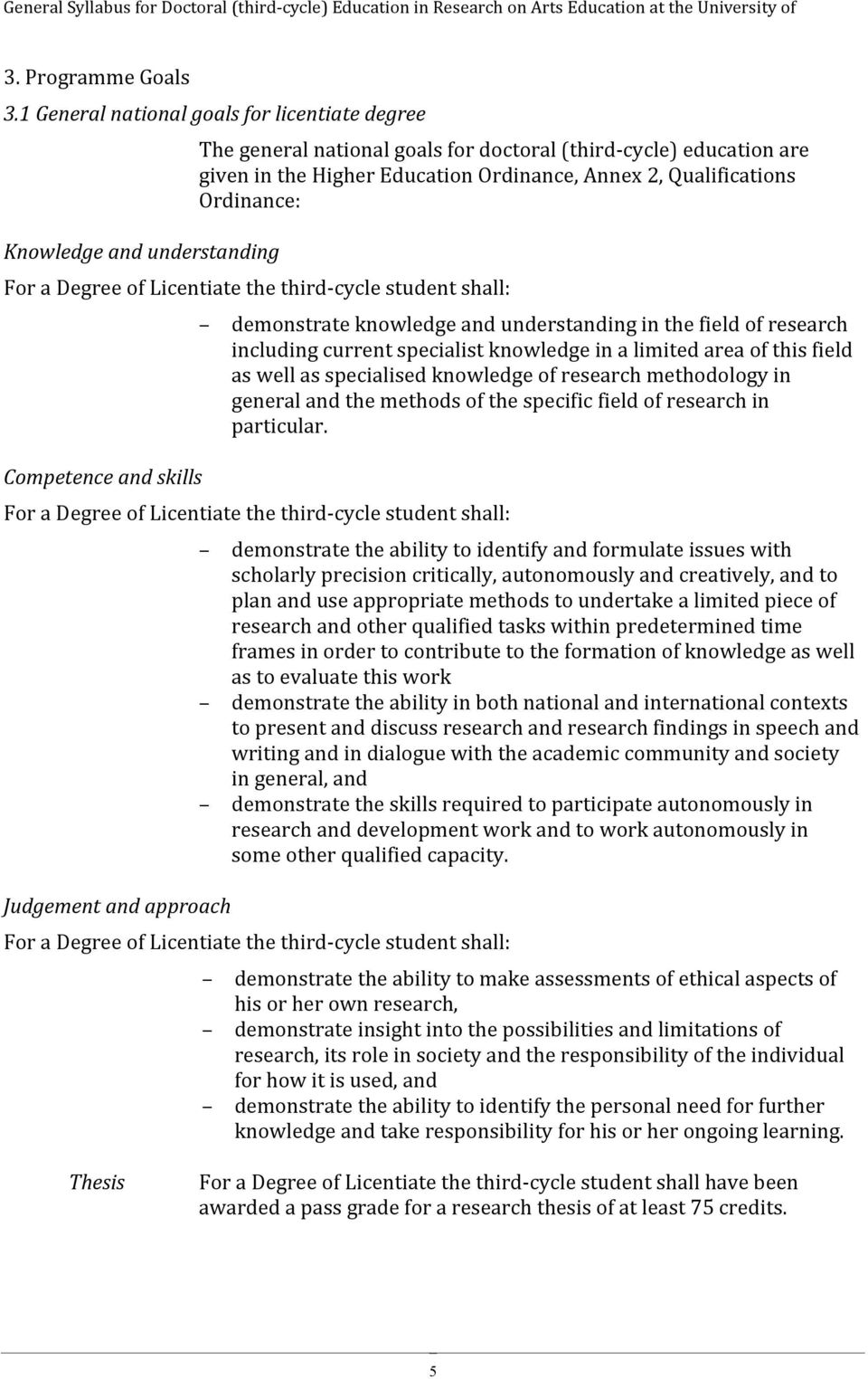 Qualifications Ordinance: For a Degree of Licentiate the third- cycle student shall: Competence and skills demonstrate knowledge and understanding in the field of research including current