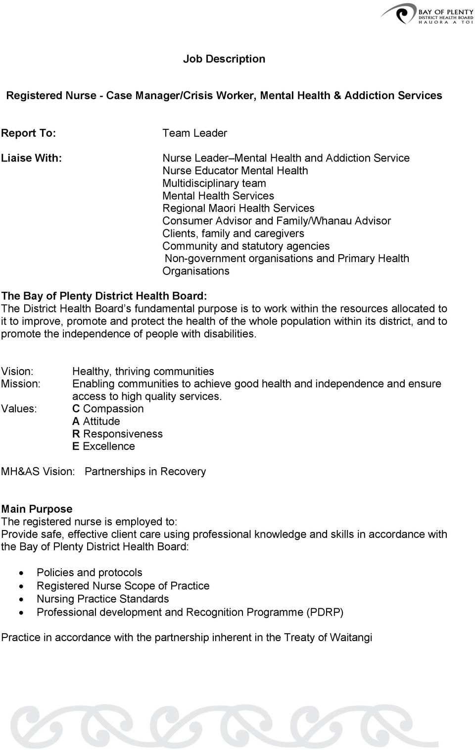 Non-government organisations and Primary Health Organisations The Bay of Plenty District Health Board: The District Health Board s fundamental purpose is to work within the resources allocated to it