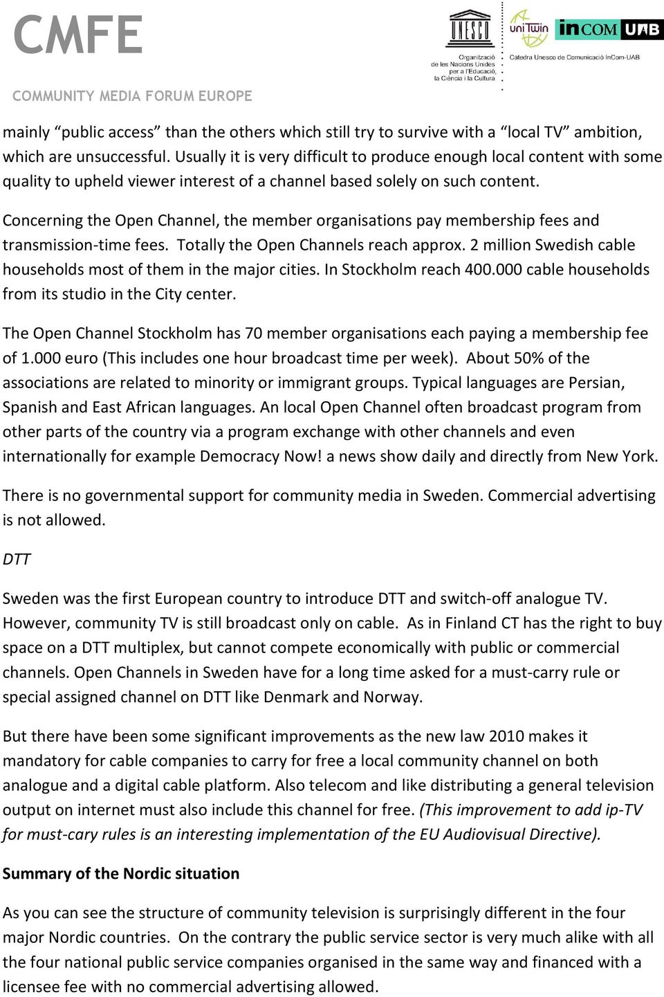 CMFE  Community TV and digitalisation in the Nordic