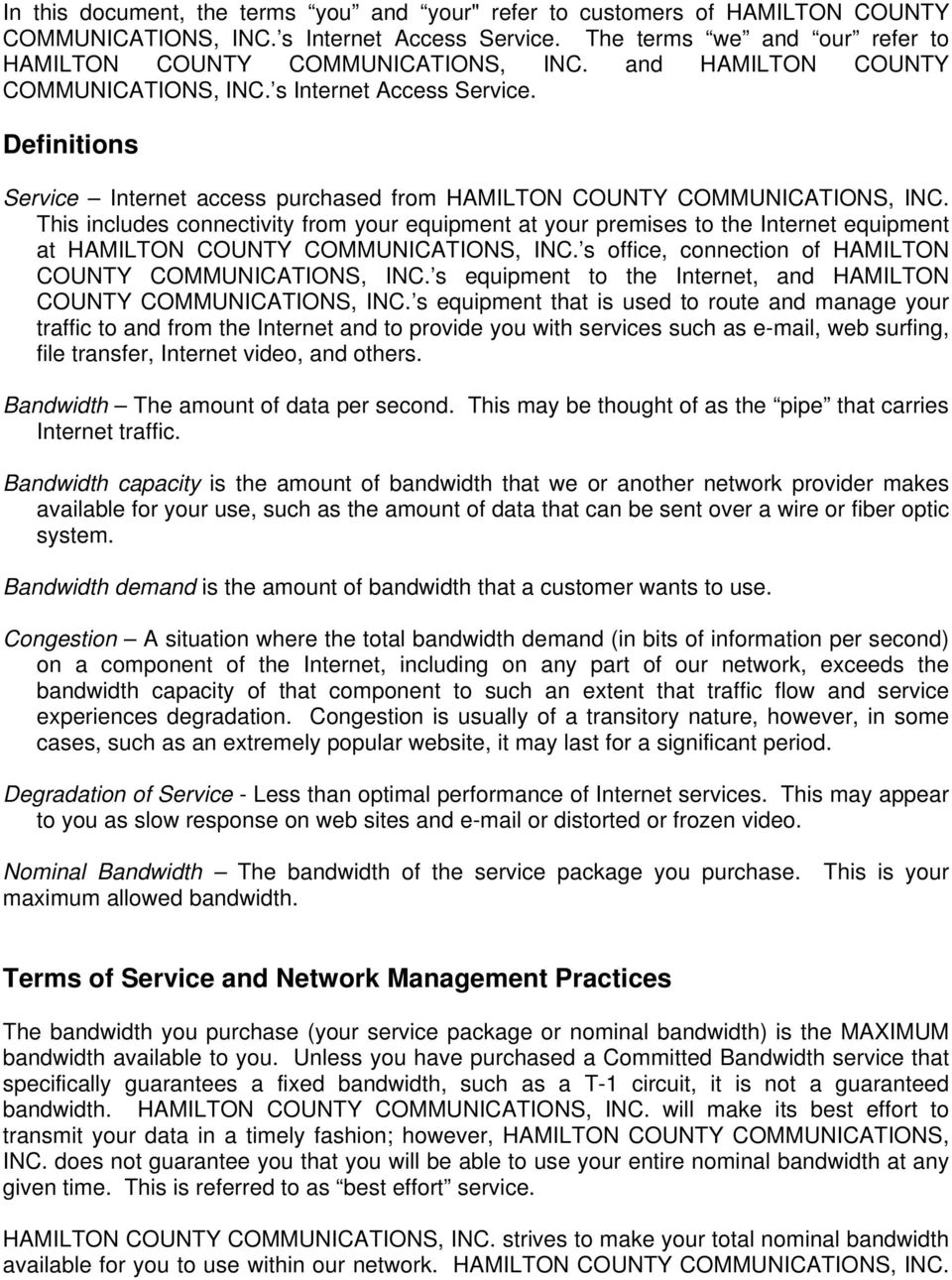 Hamilton County Communications, Inc  NETWORK POLICY AND