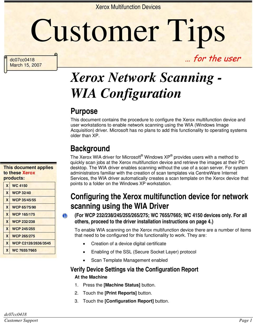 Xerox Multifunction Devices  Verify Device Settings via the