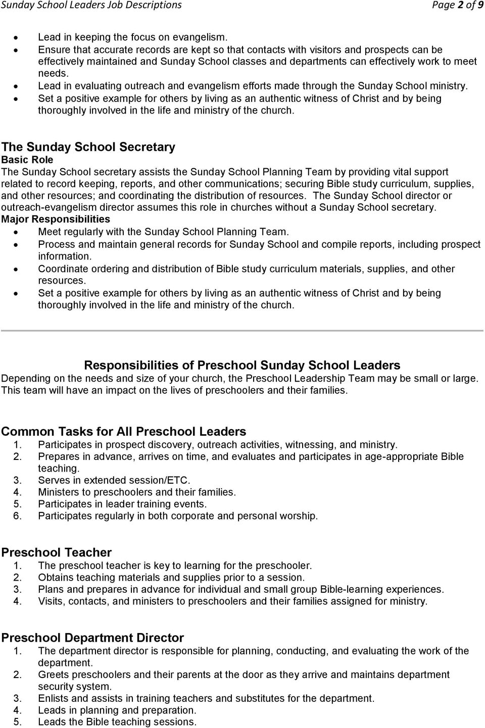 Sunday School Leaders Job Descriptions Pdf