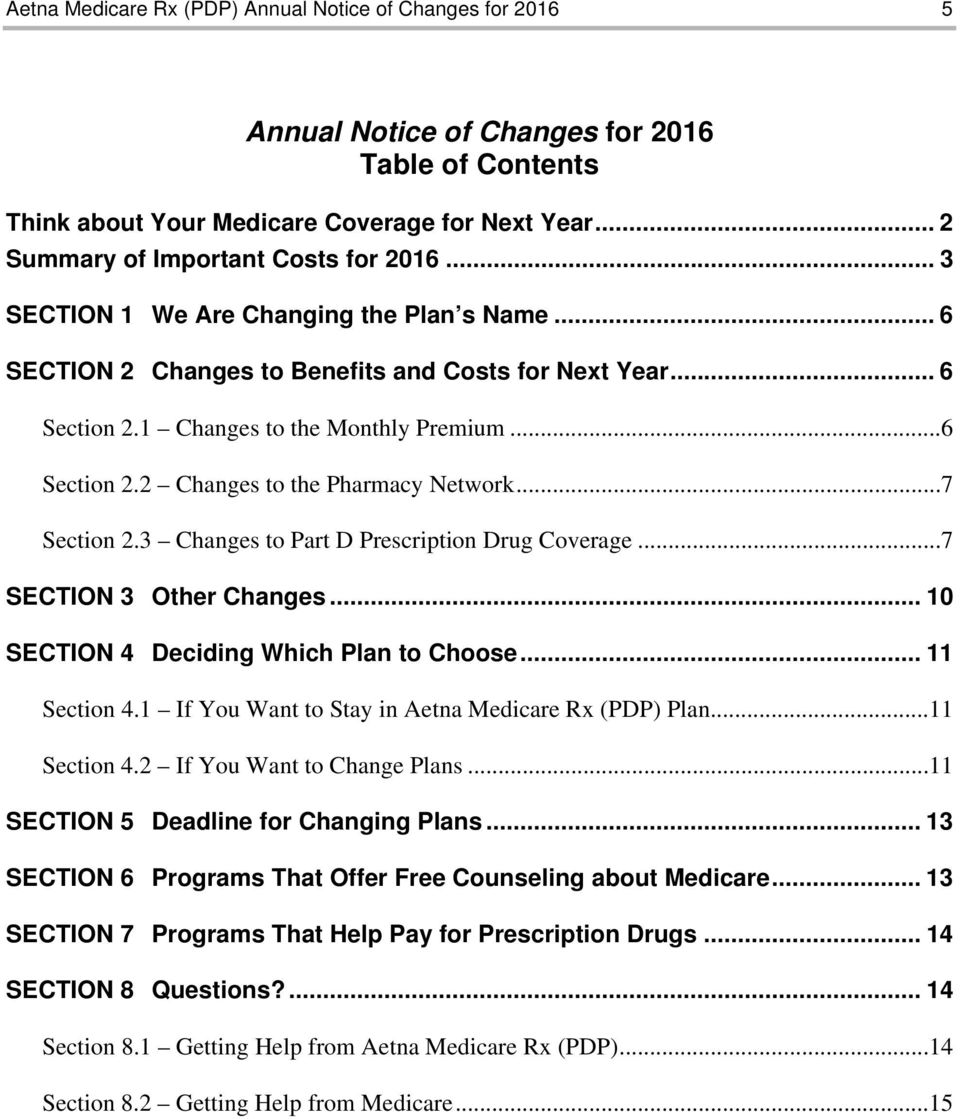 ..7 Section 2.3 Changes to Part D Prescription Drug Coverage...7 SECTION 3 Other Changes... 10 SECTION 4 Deciding Which Plan to Choose... 11 Section 4.