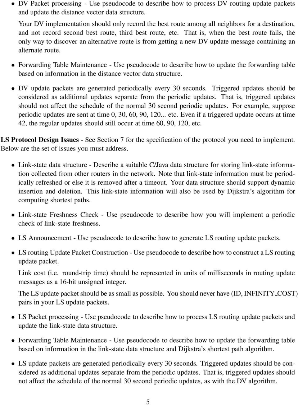 Data Networks Project 2: Design Document for Intra-Domain