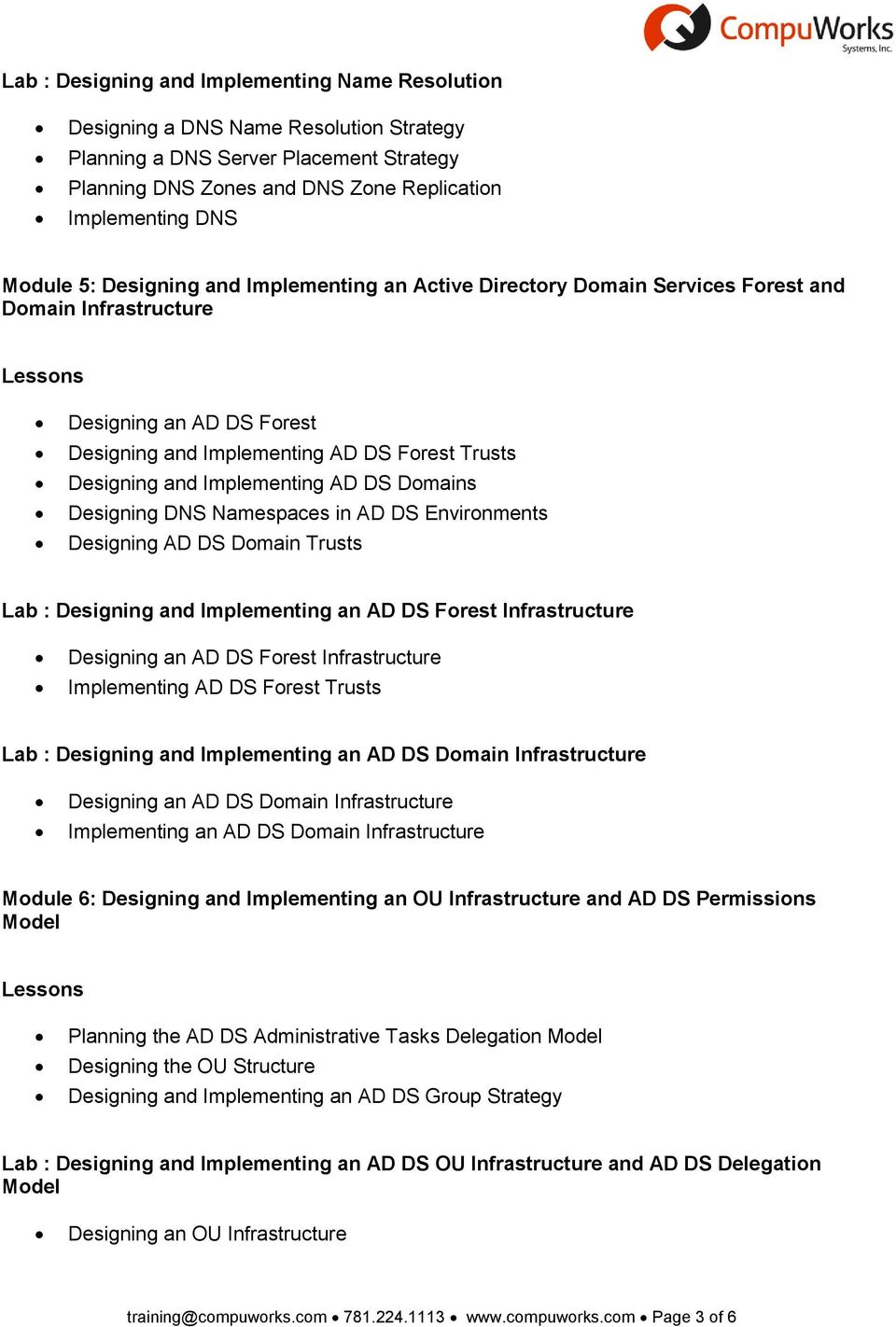 AD DS Domains Designing DNS Namespaces in AD DS Environments Designing AD DS Domain Trusts Lab : Designing and Implementing an AD DS Forest Infrastructure Designing an AD DS Forest Infrastructure