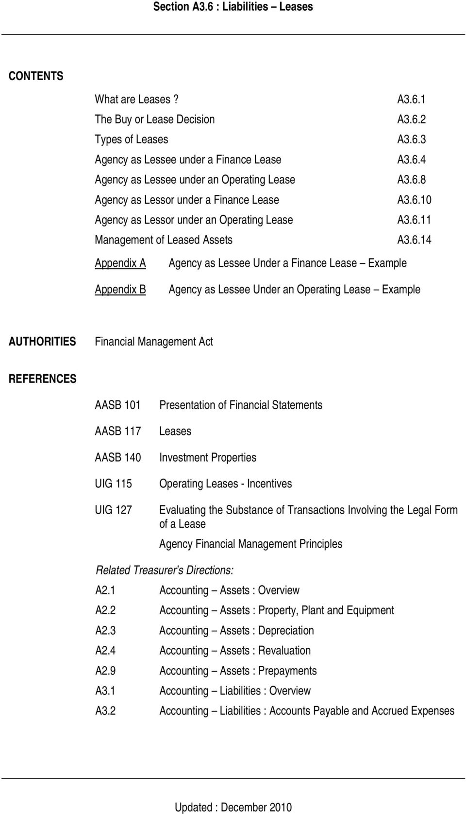 Lease Example AUTHORITIES Financial Management Act REFERENCES AASB 101 AASB 117 AASB 140 UIG 115 UIG 127 Presentation of Financial Statements Leases Investment Properties Operating Leases -