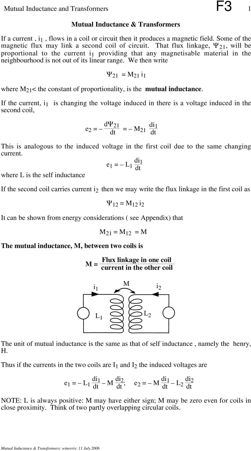Mutual Inductance And Transformers F3 3 R L O Pdf If We Increase The In An Rl Circuit What Happens To That Flux Linkage 1 Will Be Proportional Current I Providing