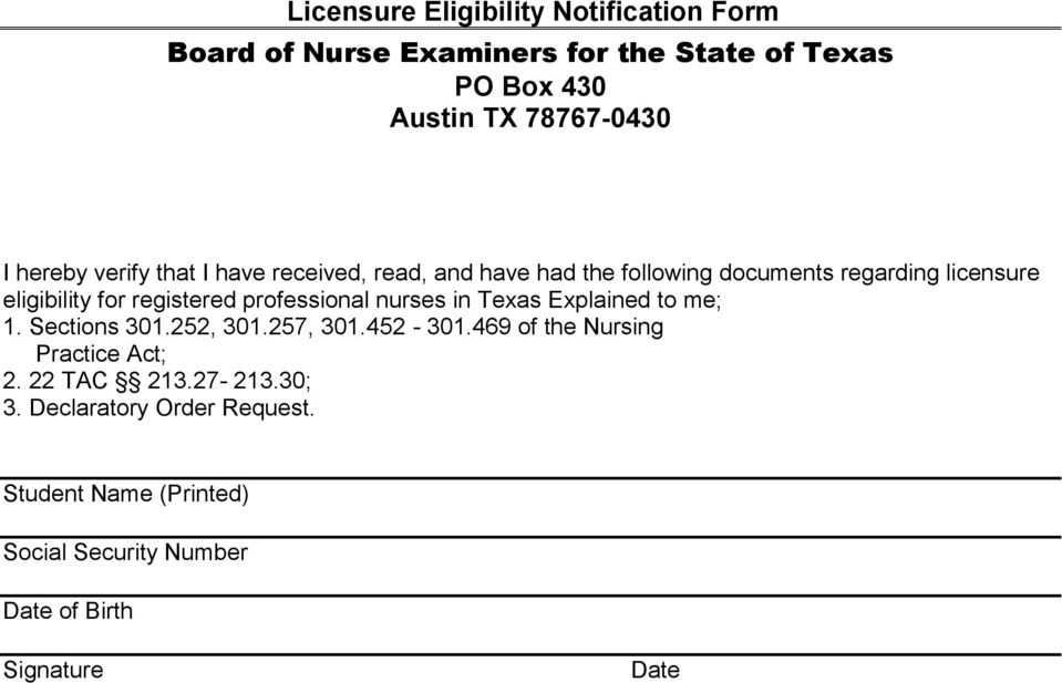 registered professional nurses in Texas Explained to me; 1. Sections 301.252, 301.257, 301.452-301.