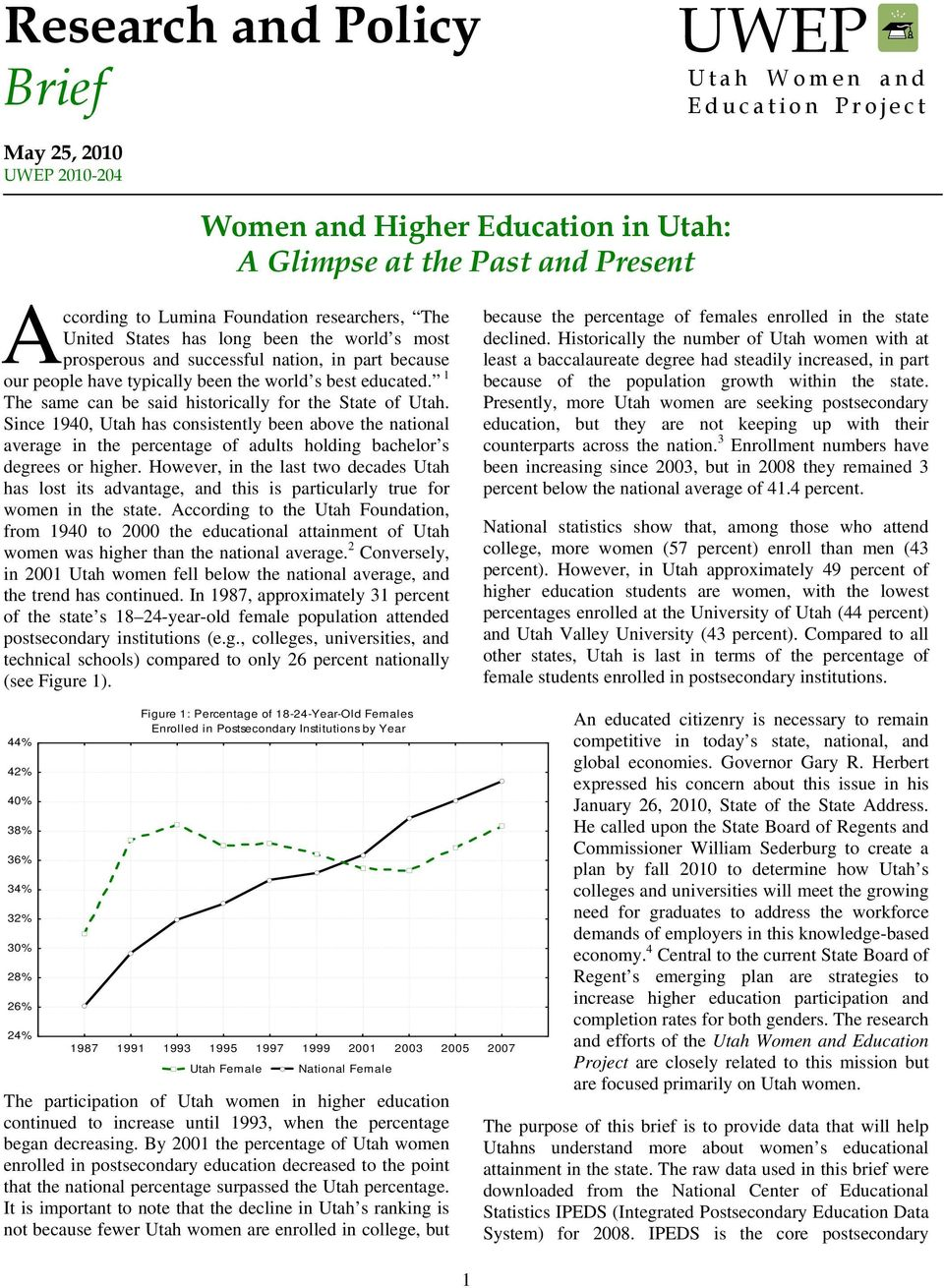1 The same can be said historically for the State of Utah. Since 1940, Utah has consistently been above the national average in the percentage of adults holding bachelor s degrees or higher.