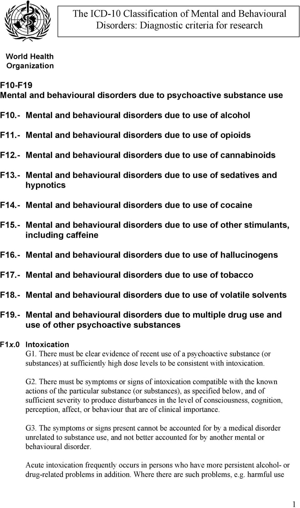 The ICD-10 Classification of Mental and Behavioural
