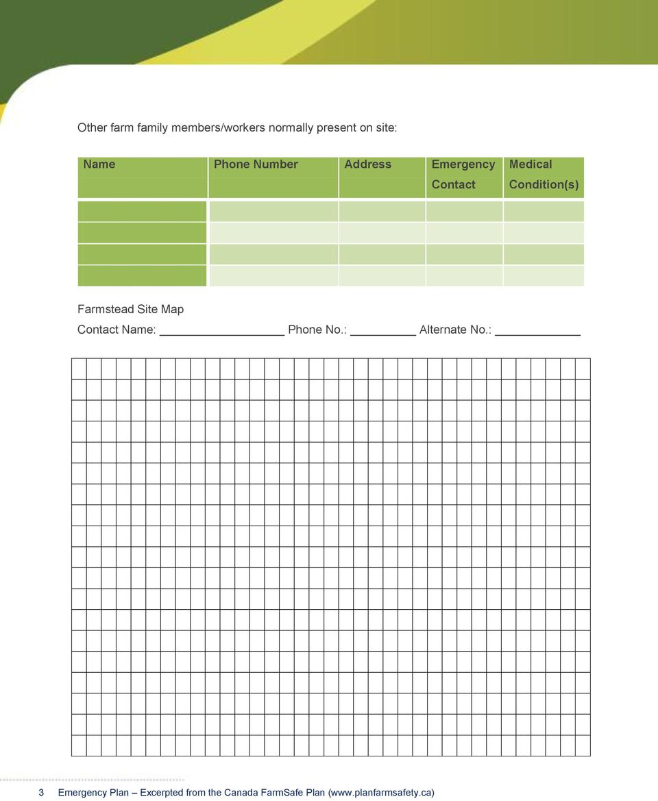 Sample Form: The Farm s Emergency Preparedness Plan - PDF