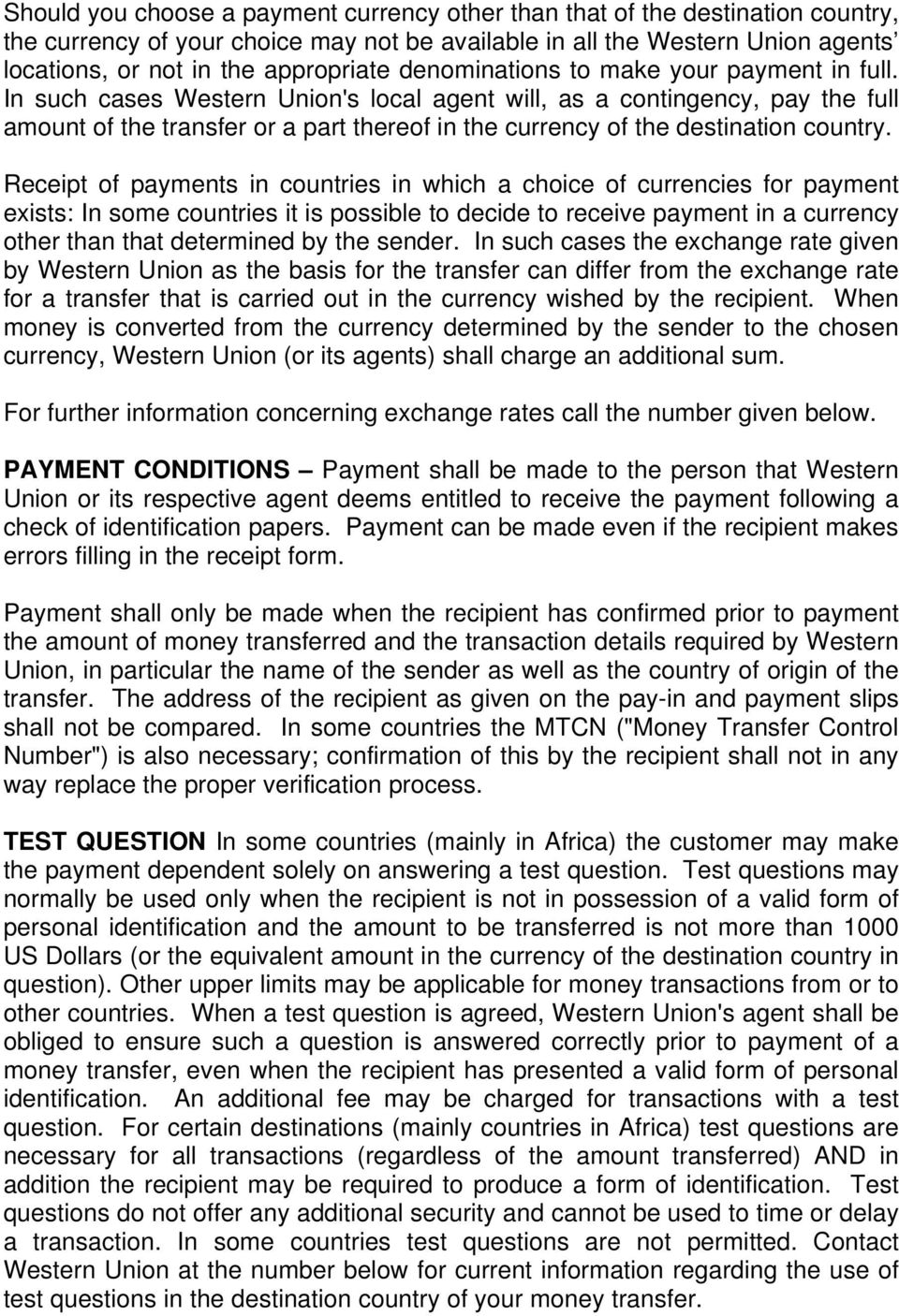 THE WESTERN UNION MONEY TRANSFER SERVICE (THE SERVICE