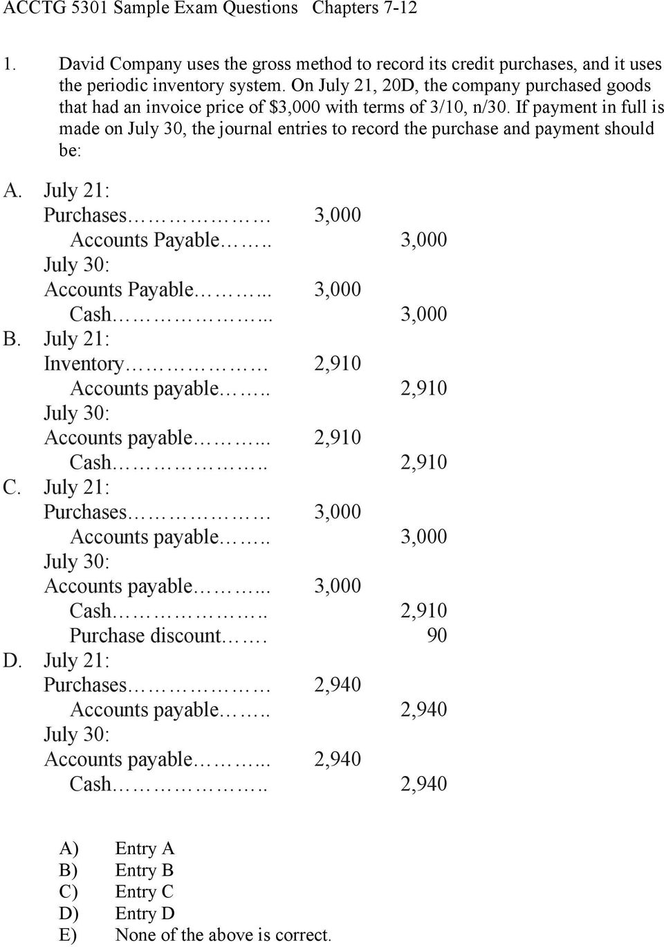 If payment in full is made on July 30, the journal entries to record the purchase and payment should be: A. July 21: Purchases Accounts Payable.. July 30: Accounts Payable... Cash... B.