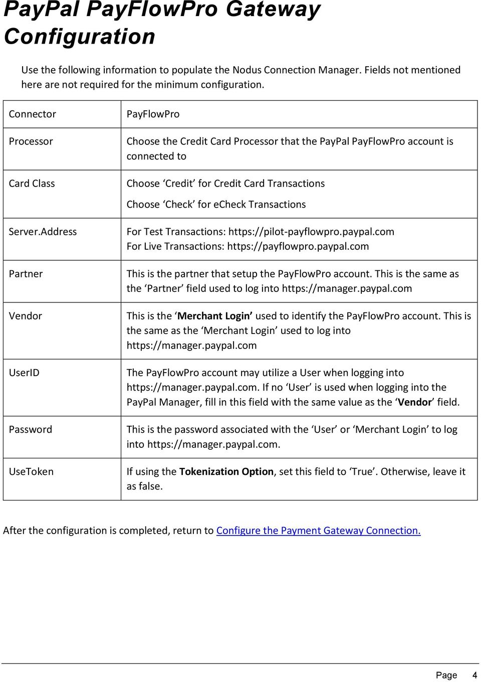 Configuring the Payment Gateway Connection - PDF